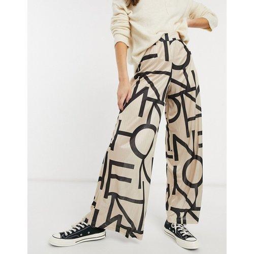 Pantalon large en satin à imprimé abstrait - ASOS DESIGN - Modalova