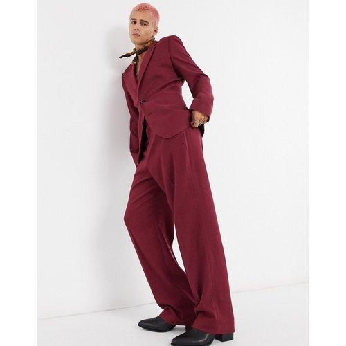 Pantalon large en sergé - Bordeaux - ASOS DESIGN - Modalova