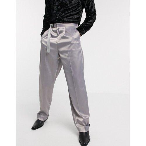 Pantalon large habillé en satin avec ceinture - Lilas - ASOS DESIGN - Modalova