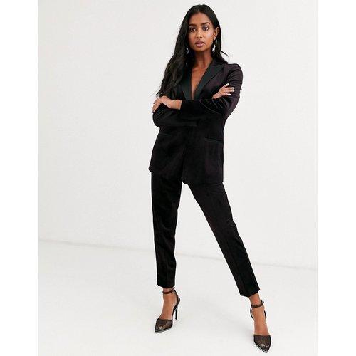 Pantalon slim de costume style smoking en velours - Lie-de-vin - ASOS DESIGN - Modalova