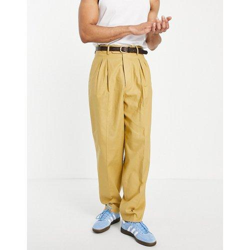 Pantalon slim habillé à taille haute en lin - Moutarde - ASOS DESIGN - Modalova