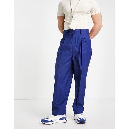 Pantalon slim taille haute en lin - Bleu - ASOS DESIGN - Modalova