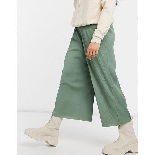 Pantalon style jupe-culotte plissé - Kaki - ASOS DESIGN - Modalova