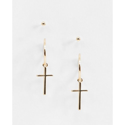Pendants d'oreilles croix cloutés - ASOS DESIGN - Modalova
