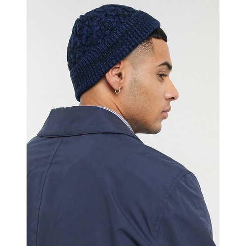 Petit bonnet style pêcheur en maille torsadée - Bleu marine et noir - ASOS DESIGN - Modalova