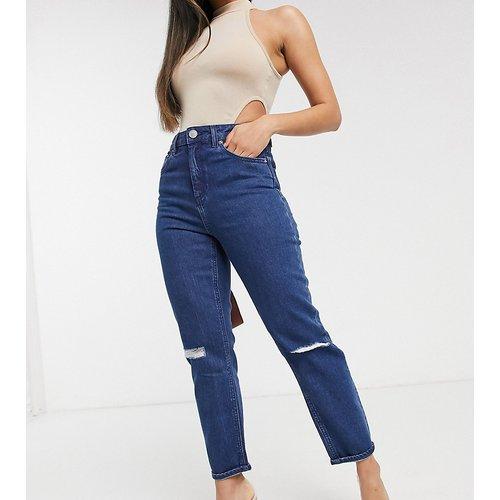 ASOS DESIGN Petite - Farleigh - Jean mom slim taille haute avec déchirures - délavé workwear - ASOS Petite - Modalova