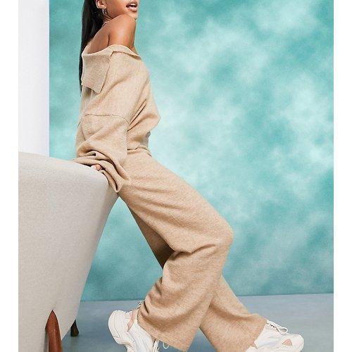 ASOS DESIGN Petite - Pantalon large en maille (ensemble) - Grège - ASOS Petite - Modalova