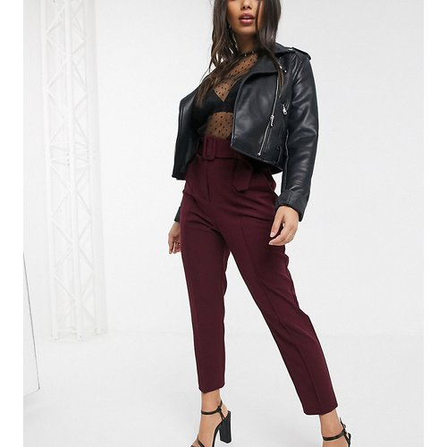 Petite - Pantalon slim à ceinture - Prune - ASOS DESIGN - Modalova