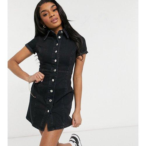ASOS DESIGN Petite - Robe chemise ajustée en jean - délavé - ASOS Petite - Modalova