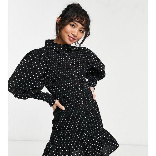 ASOS DESIGN Petite - Robe chemise courte froncée avec imprimé à pois - ASOS Petite - Modalova
