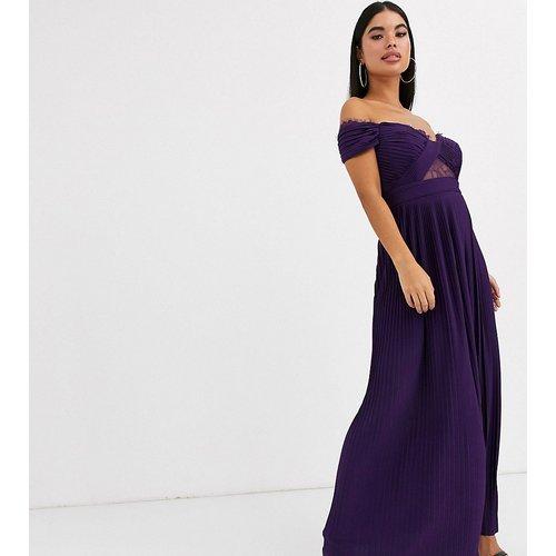 ASOS DESIGN Petite - Robe longue style Bardot plissée et en dentelle - ASOS Petite - Modalova