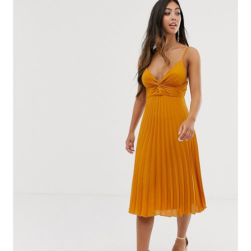 ASOS DESIGN Petite - Robe mi-longue caraco torsadée devant avec jupe plissée - ASOS Petite - Modalova