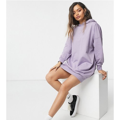 ASOS DESIGN Petite - Robe sweat à capuche oversize - cendré - ASOS Petite - Modalova