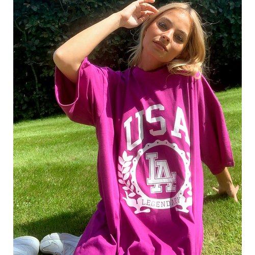 ASOS DESIGN Petite - Robe t-shirt oversize à imprimé USA - ASOS Petite - Modalova