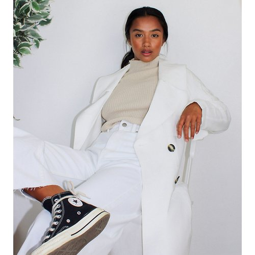 ASOS DESIGN Petite - Trench-coat ample - Blanc - ASOS Petite - Modalova