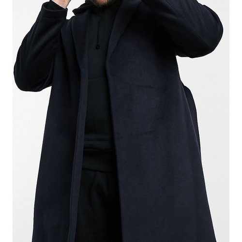 Plus - Manteau en laine mélangée avec ceinture - Bleu marine - ASOS DESIGN - Modalova