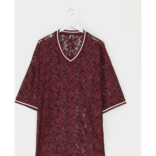 Plus - T-shirt oversize col V à manches mi-longues en dentelle et liseré - Bordeaux - ASOS DESIGN - Modalova