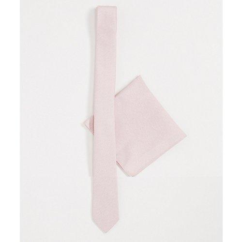 Pochette et cravate fine - Pêche - ASOS DESIGN - Modalova