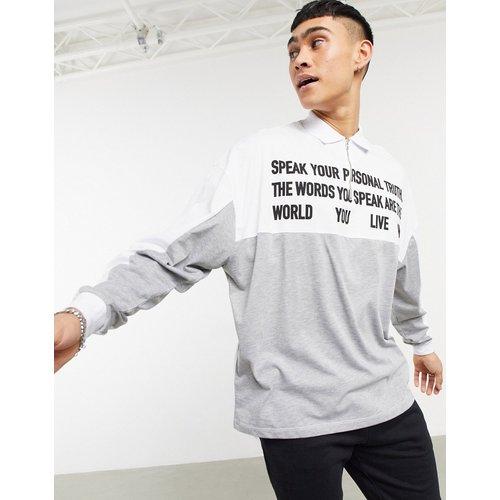 Polo oversize manches longues à imprimé texte - chiné - ASOS DESIGN - Modalova