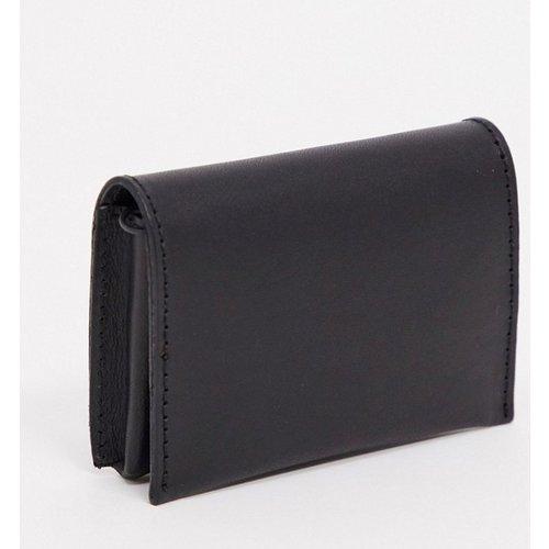 Portefeuille en cuir à rabat avec poche à monnaie zippée - ASOS DESIGN - Modalova
