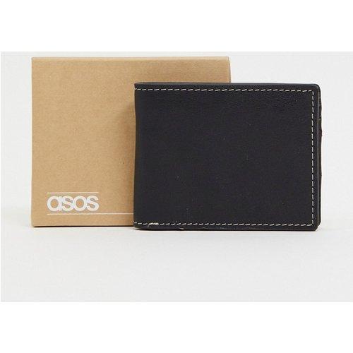 Portefeuille en cuir avec surpiqûres contrastantes et intérieur marron - ASOS DESIGN - Modalova