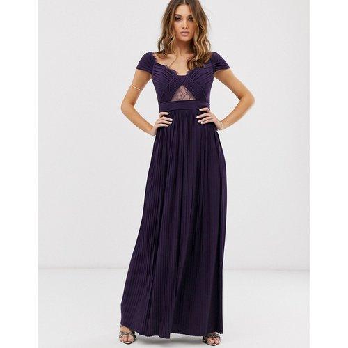 Premium - Robe longue plissée style Bardot Bardot avec empiècement en dentelle - ASOS DESIGN - Modalova