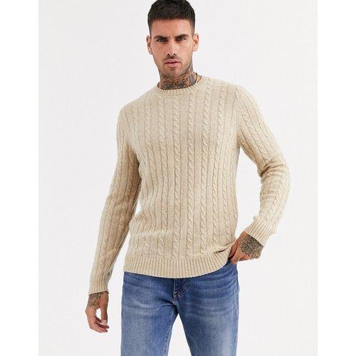 Pull en maille torsadée en laine d'agneau - Fauve - ASOS DESIGN - Modalova