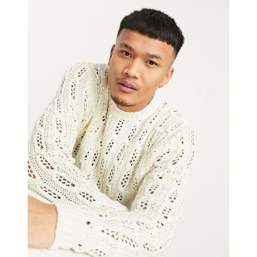 Pull en tricot texturé avec maille pointelle - Crème - ASOS DESIGN - Modalova