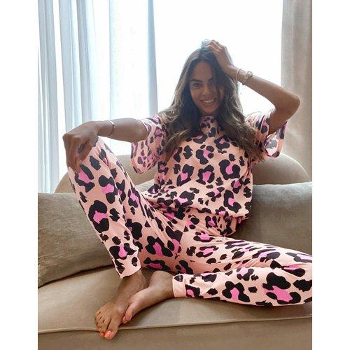 Pyjama à imprimé léopard avec t-shirt et legging - Pêche - ASOS DESIGN - Modalova