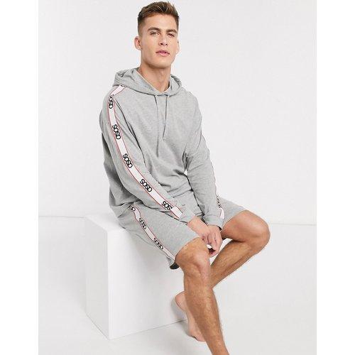 Pyjama avec short et hoodie oversize avec bande à logo - chiné - ASOS DESIGN - Modalova