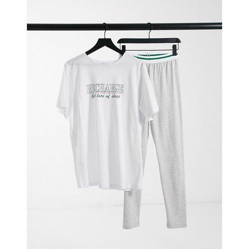 Recharge - Ensemble T-shirt et legging oversize - Blanc et gris - ASOS DESIGN - Modalova