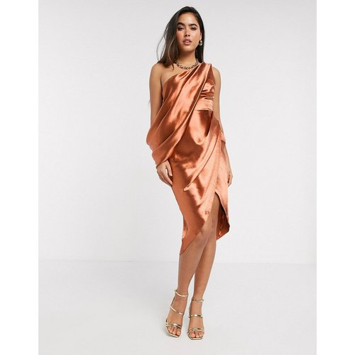 Robe asymétrique mi-longue drapée - ASOS DESIGN - Modalova