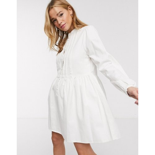 Robe babydoll en jean plissée - ASOS DESIGN - Modalova