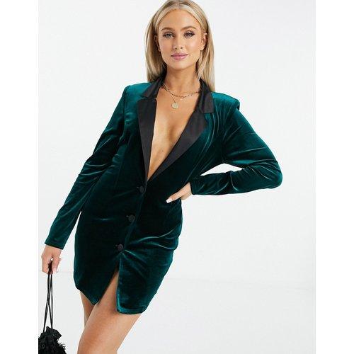 Robe blazer longue style smoking en jersey et en velours - foncé - ASOS DESIGN - Modalova