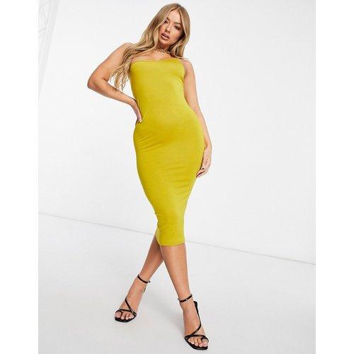 Robe caraco moulante mi-longue asymétrique de style minimaliste - Chartreuse - ASOS DESIGN - Modalova