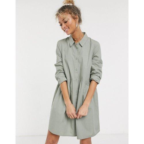 Robe chemise babydoll courte en coton - Kaki - ASOS DESIGN - Modalova