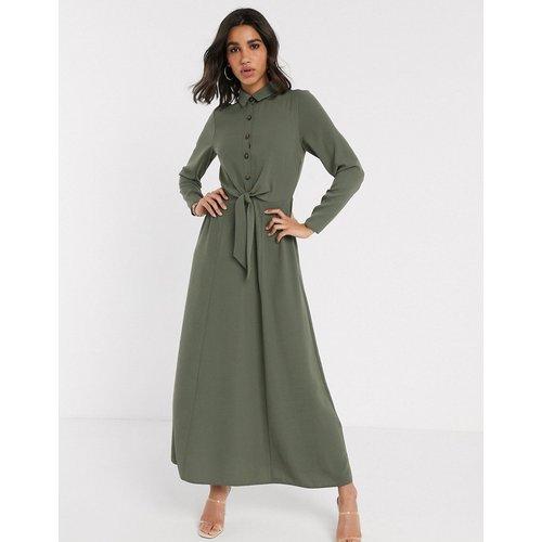 Robe chemise boutonnée à effet croisé - Kaki - ASOS DESIGN - Modalova