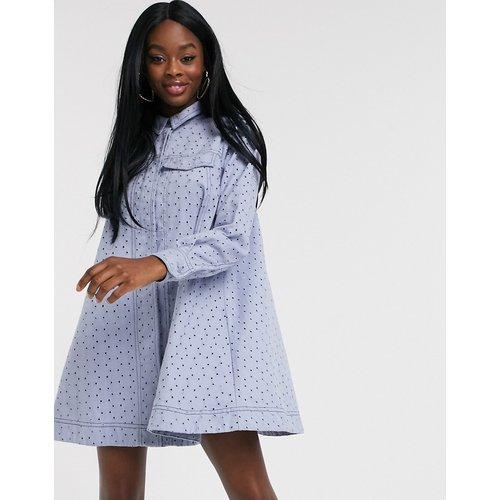 Robe chemise coupe trapèze courte avec broderies - ASOS DESIGN - Modalova