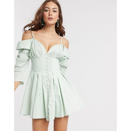 Robe chemise courte à corset épaules dénudées avec bouton - ASOS DESIGN - Modalova