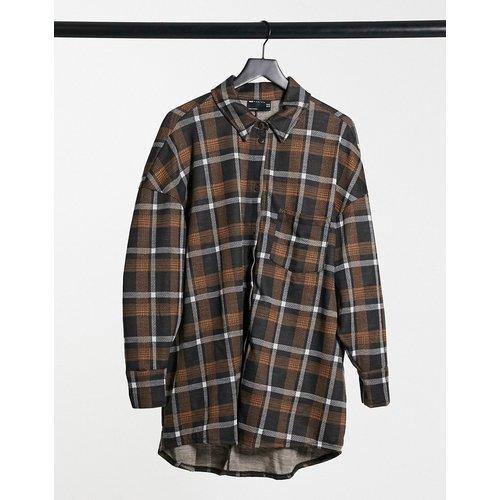Robe chemise courte à manches longues - Carreaux gris et moutarde - ASOS DESIGN - Modalova