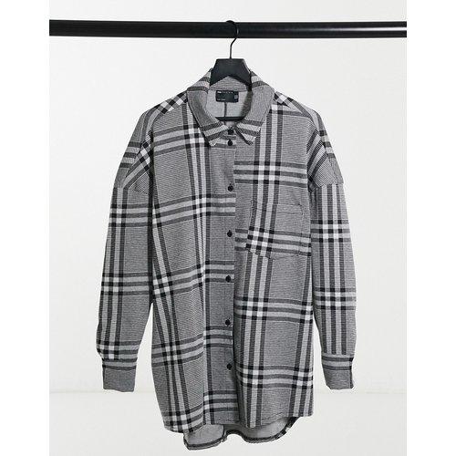 Robe chemise courte à manches longues et carreaux - et blanc - ASOS DESIGN - Modalova