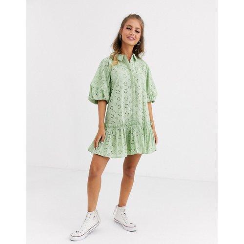 Robe chemise courte en broderie anglaise à manches bouffantes - ASOS DESIGN - Modalova
