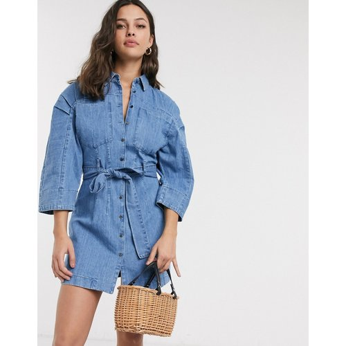 Robe chemise courte en jean souple - délavé moyen - ASOS DESIGN - Modalova