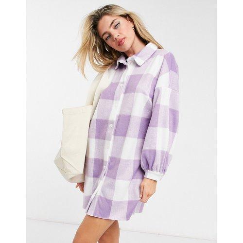 Robe chemise courte en polaire - Carreaux lilas et blancs - ASOS DESIGN - Modalova