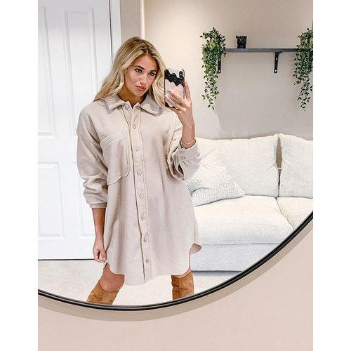 Robe chemise courte en polaire - Fauve - ASOS DESIGN - Modalova