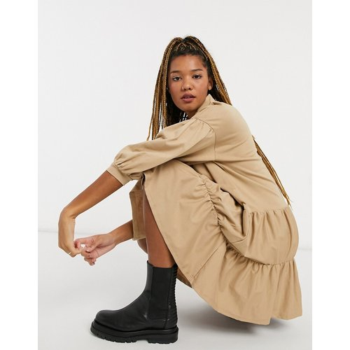 Robe chemise courte étagée - Camel - ASOS DESIGN - Modalova
