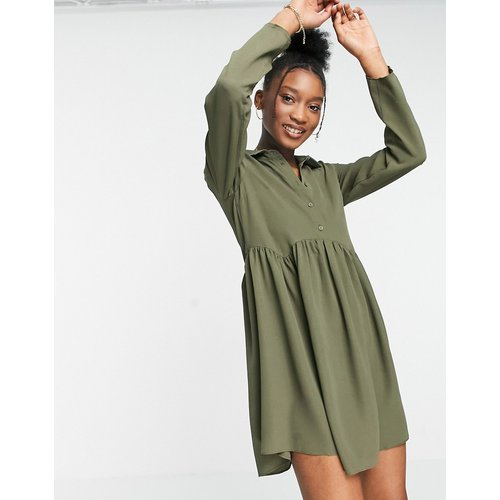 Robe chemise courte style babydoll - Kaki - ASOS DESIGN - Modalova