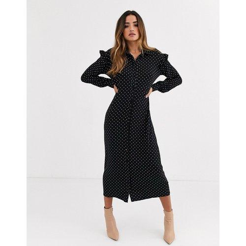 Robe chemise longue à pois et manches longues - Monochrome - ASOS DESIGN - Modalova