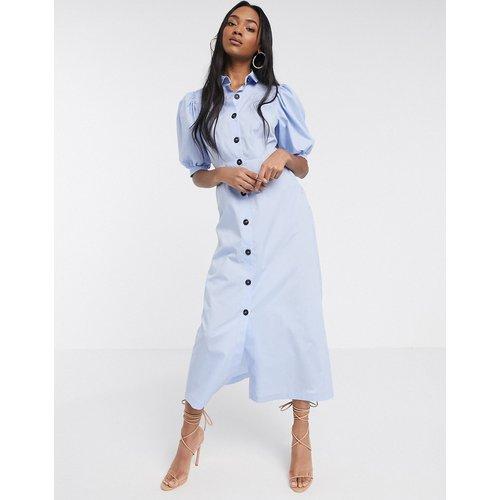 Robe chemise longue boutonnée en popeline à manches bouffantes - ASOS DESIGN - Modalova