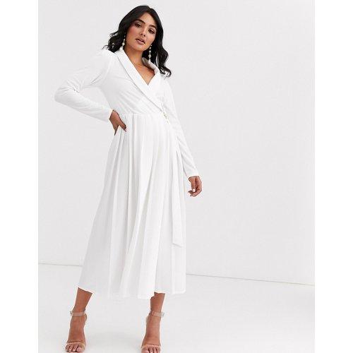 Robe chemise mi-longue à manches longues avec jupe plissée et boucle - ASOS DESIGN - Modalova
